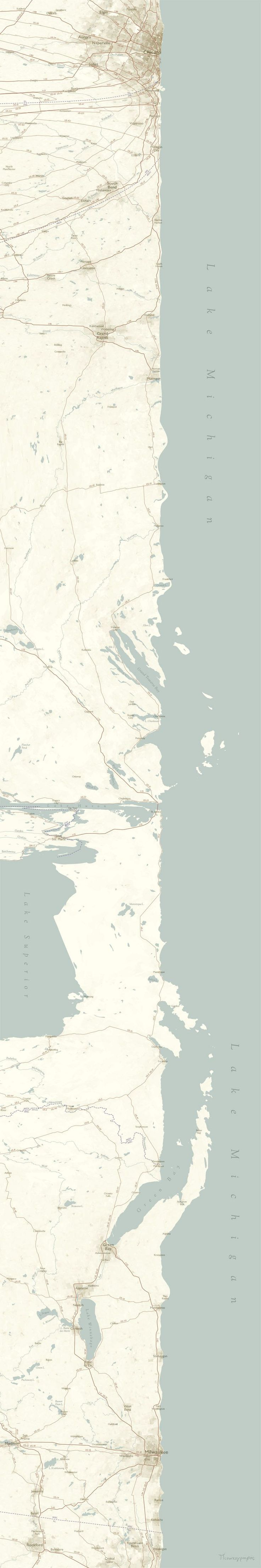The Coast of Lake Michigan Looks Extra Oceanic in This New 'Linear Map'