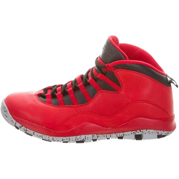 Pre-owned Nike Air Jordan Retro 10 30th Bulls Over Broadway Sneakers ($195) ❤ liked on Polyvore featuring men's fashion, men's shoes, men's sneakers, red, mens red shoes, mens red high tops, mens red sneakers, nike mens sneakers and mens high top sneakers
