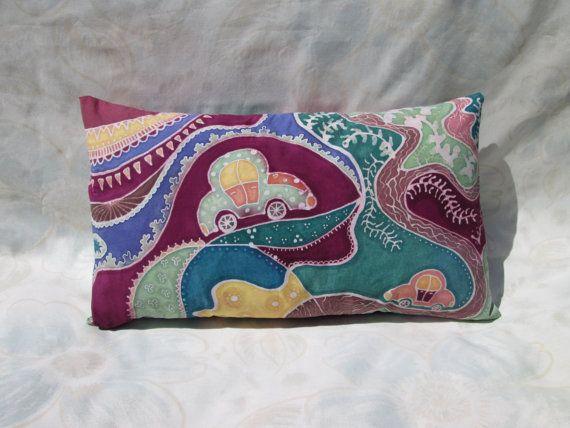 Handmade Hand Painted Batik Pillow Fairy Car in a by BataviaDesign