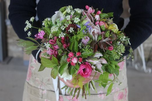 A May wedding bouquet of apple blossom, cow parsley and other exquisite English wildflowers and spring flowers // Common Farm Flowers // The Natural Wedding Company