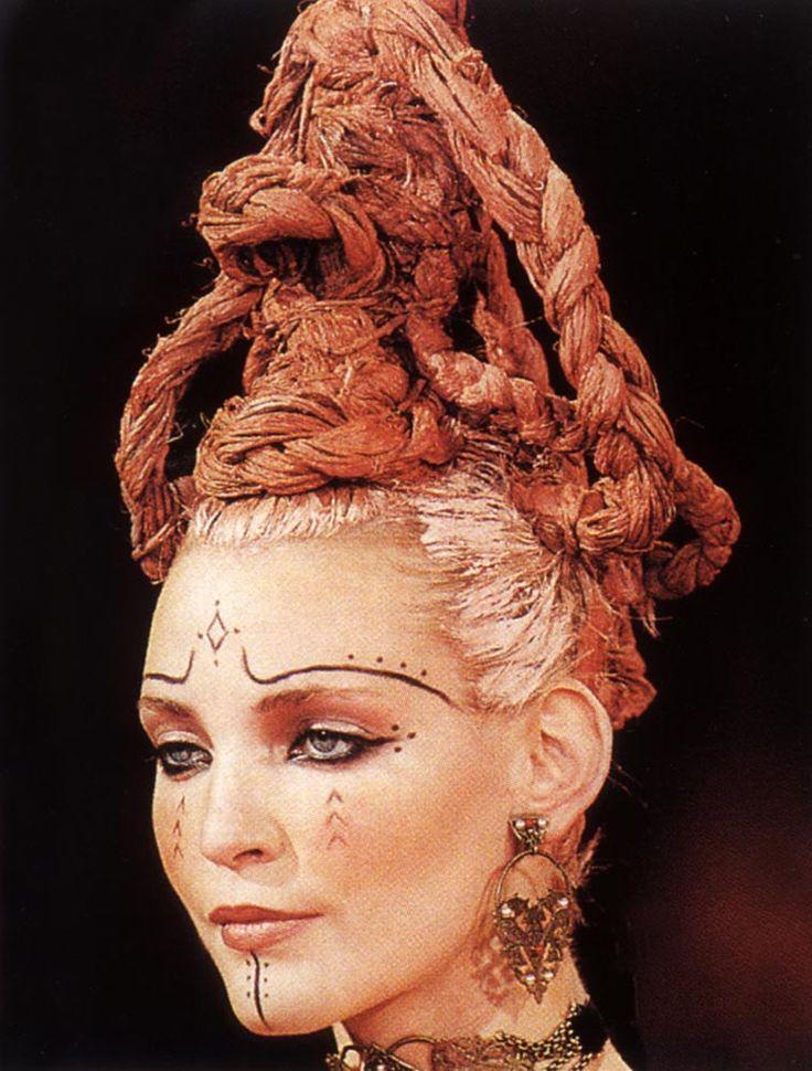 90srunway:  Nadja Auermann, Givenchy by John Galliano S/S 1996