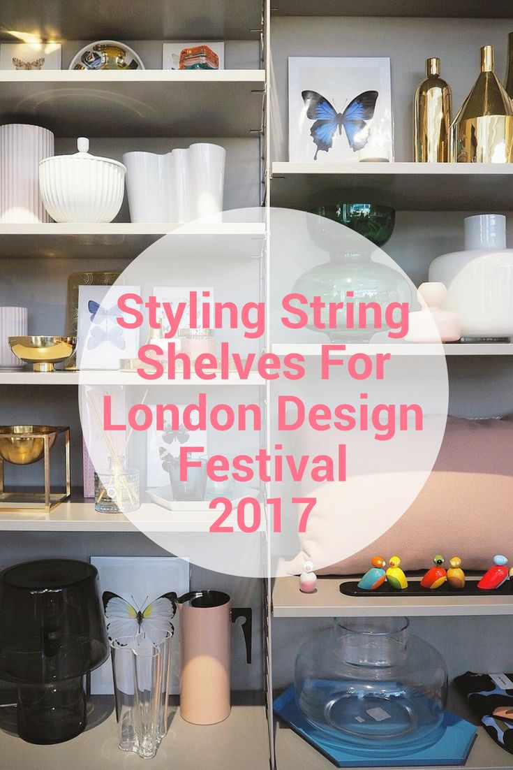 String shelves with Skandium home ware. Scandi design. Danish Design. Scandi Interiors. London Design Festival.