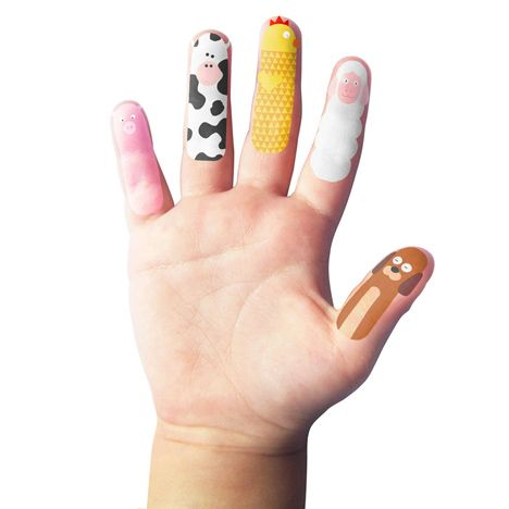 Finger Farm children's temporary tattoo puppets by Spanish designer Héctor Serrano