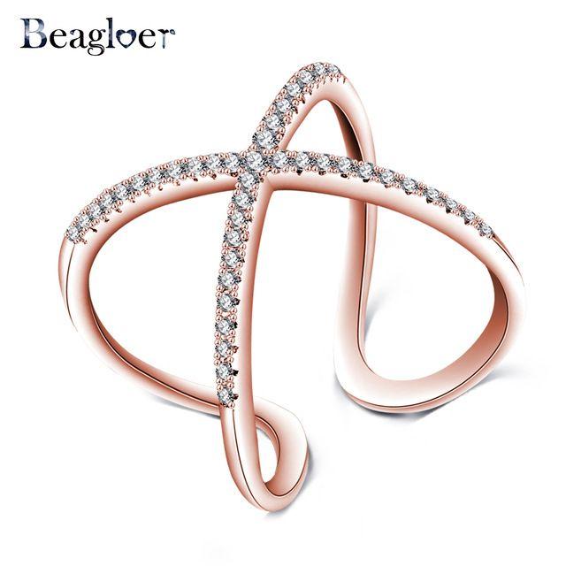 Beagloer Rose Banhado A Ouro Projeto da Forma X Anéis Com Pave Definir Cubic Zirconia Cruz Anel da Jóia Do Casamento Anel Feminino CRI1059