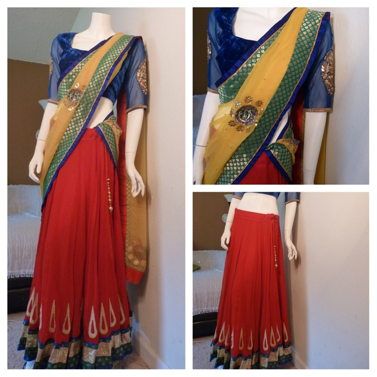 Pure Red Georget used for the Skirt- 24 kalis  Blue velvet blouse and pure yellow chiffon dupatta with gota patti embroidery.