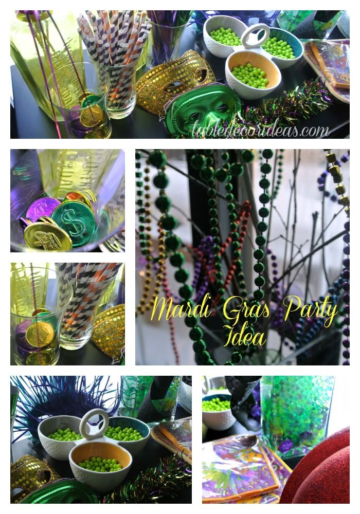 Mardi Gras Party & Decor Ideas - Table Decor Ideas Get creative and have some fun with this Mardi Gras Themed party!