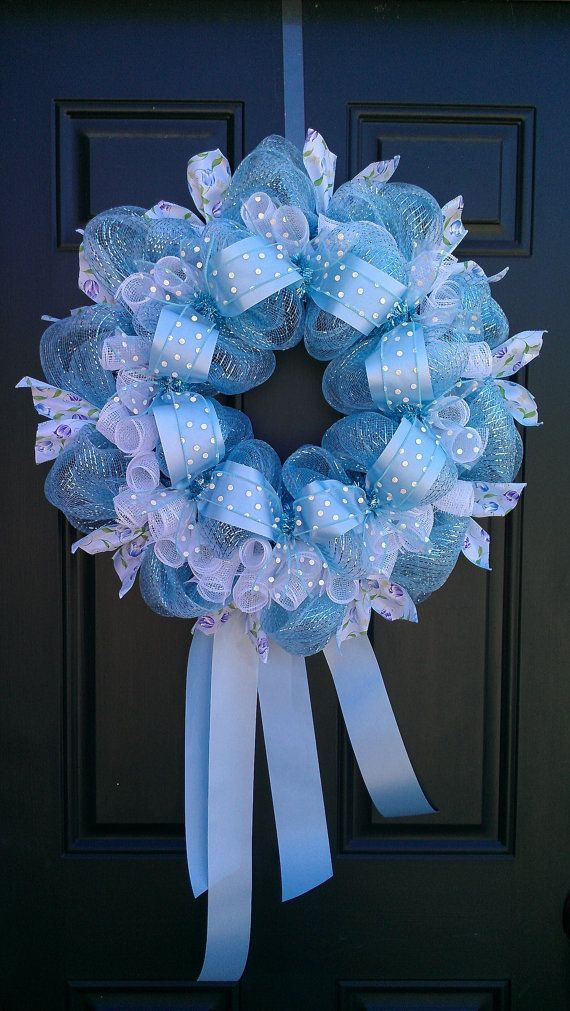 Baby shower wreath 8 - made of blue items