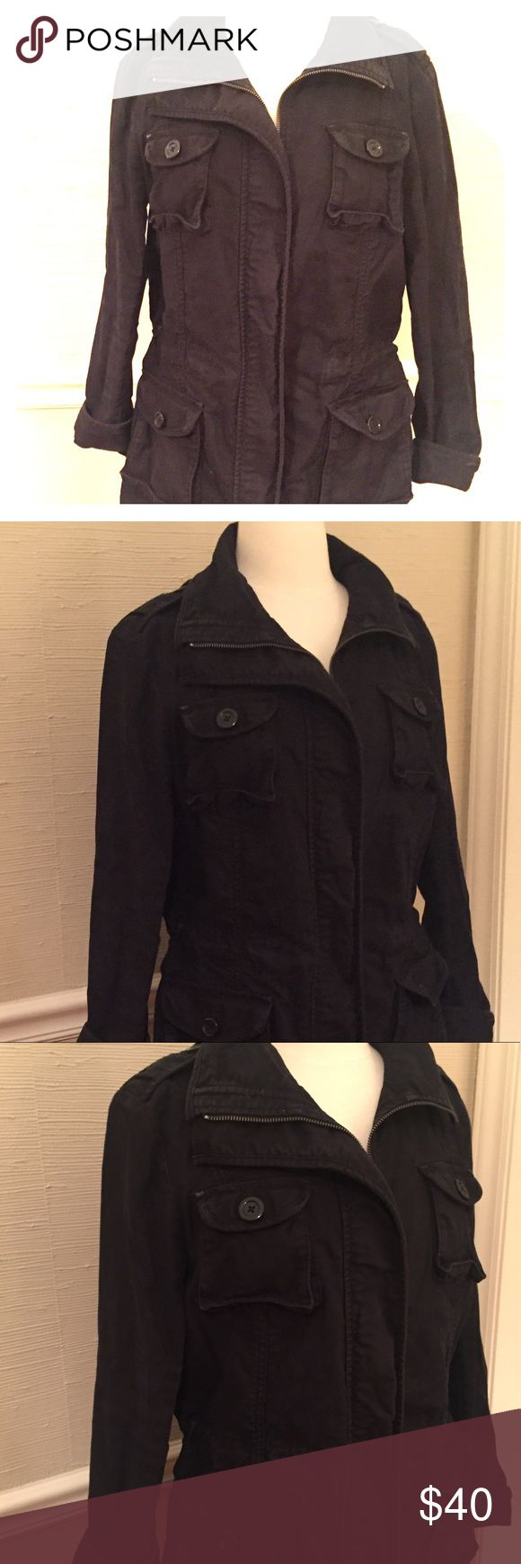 Gap Distressed Black Fleet Jacket Distressed black fleet jacket from Gap.  Size Medium and minimally worn.  Perfect spring layer for chillier mornings or evenings.  Multiple pockets and waist has a tie to cinch in for a more defining waist. GAP Jackets & Coats Utility Jackets