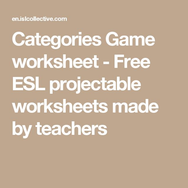 Categories Game worksheet - Free ESL projectable worksheets made by teachers