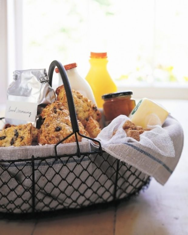 """holiday hostess gifts - """"After a night of entertaining, your hostess will surely appreciate waking up to a yummy breakfast basket. How to: line a beautiful basket with a pretty tea towel and fill it with all the necessities to start her day off right—coffee, milk, fresh-squeezed juices, muffins, jam, granola, fruit (you get the gist)."""""""