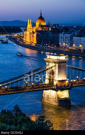 Szechenyi Chain Bridge is a suspension bridge on river Danube, Budapest, with Orszaghaz Hungary Parliament building.