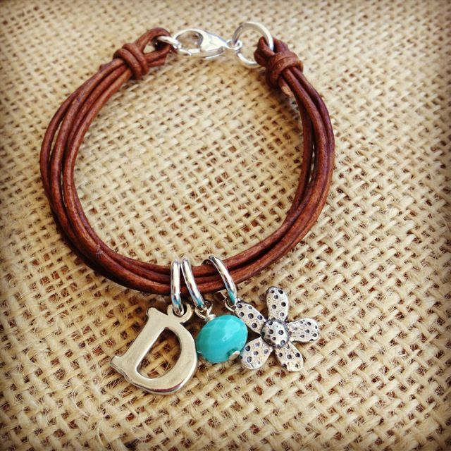 Hand Crafted Leather Bracelet with Initials, Bead & Flower-girls hand crafted leather bracelet