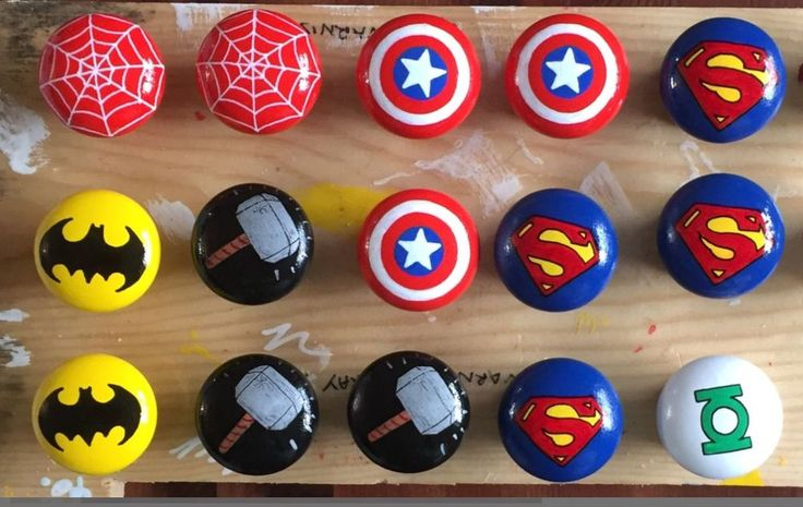 Marvel DC Themed Pine hand painted drawer door knobs handles Superhero Minecraft