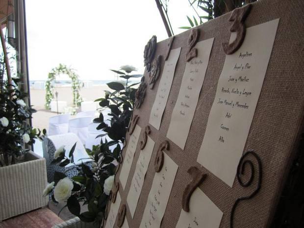 Tablero organizado por numero de mesa    la cual incluye la lista de invitados asignados en cada mesa.