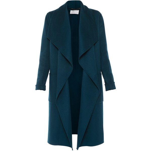 LK Bennett Fran Evergreen Double-faced Wool Coat With Detachable Belt found on Polyvore featuring outerwear, coats, casacos, green, blue wool coat, teal wool coat, tie belt, blue coat and shawl collar coats