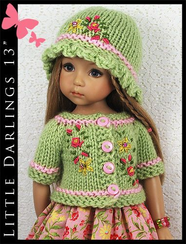 """OOAK Green & Pink Outfit for Little Darlings Effner 13"""" by Maggie & Kate Create"""