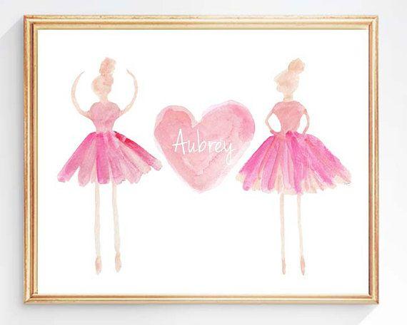 Ballerina, Personalized Ballerina Art, Dancer, Ballet Print, Ballet Gift, Ballet Tutu, Ballerina Watercolor, Ballet Nursery, Ballerina Decor