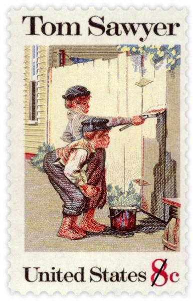 USPS Tom Sawyer Commemorative Stamps - 1972  © USPS. All Rights Reserved.