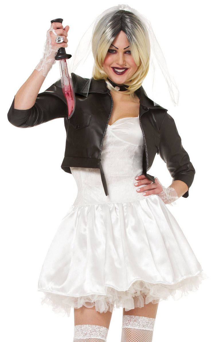 #48493 Bride Of Chucky Costume Includes Dress, Jacket, Veil, Gloves and Choker Purchase the Bride of Chucky Wig, #21070 to complete the look. Sizes: S,M,L