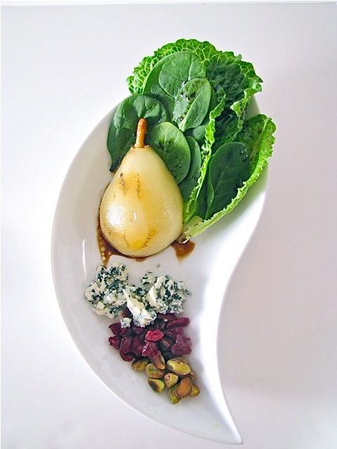 ChowGals: Poached Pear Salad w/ Blue Cheese and Cranberry ...