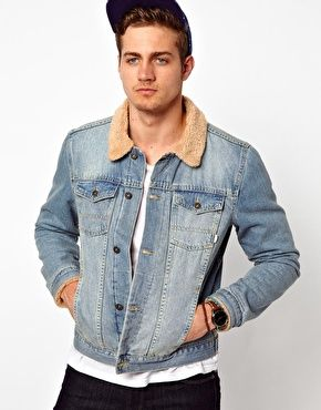 ASOS Denim Jacket With Borg Collar $90.60