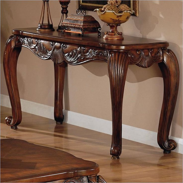 Venice Traditional Sofa Table in Deep Brown Medium Wood Finish - 700469