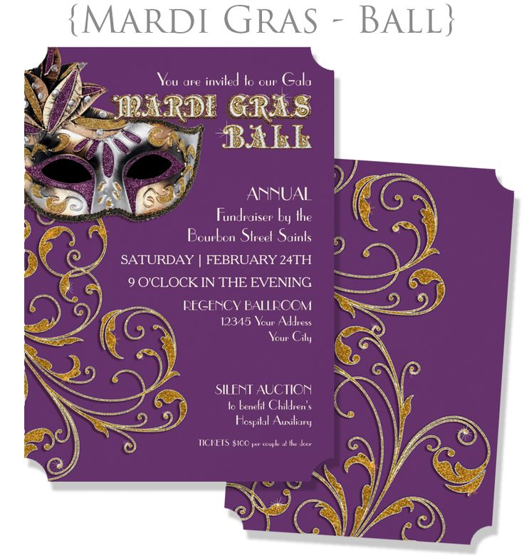 :: MARDI GRAS BALL :: MASQUERADE :: Elegant, sophisticated, classy invitations set up for a fundraising event or other party.  #mardigras #masquerade #masqueradeball #glittery #mask #fundraising #invitations #invites
