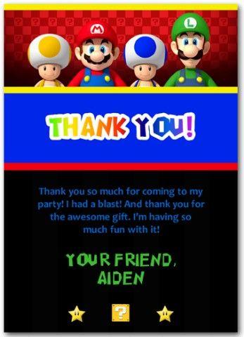 Mario Bros. Thank You Cards #mariobrosthankyou # ...