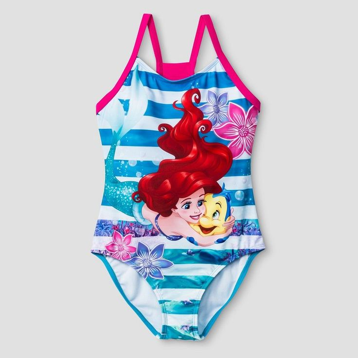 Girls' The Little Mermaid One Piece Swimsuit XS -Blue, Girl's, Blue