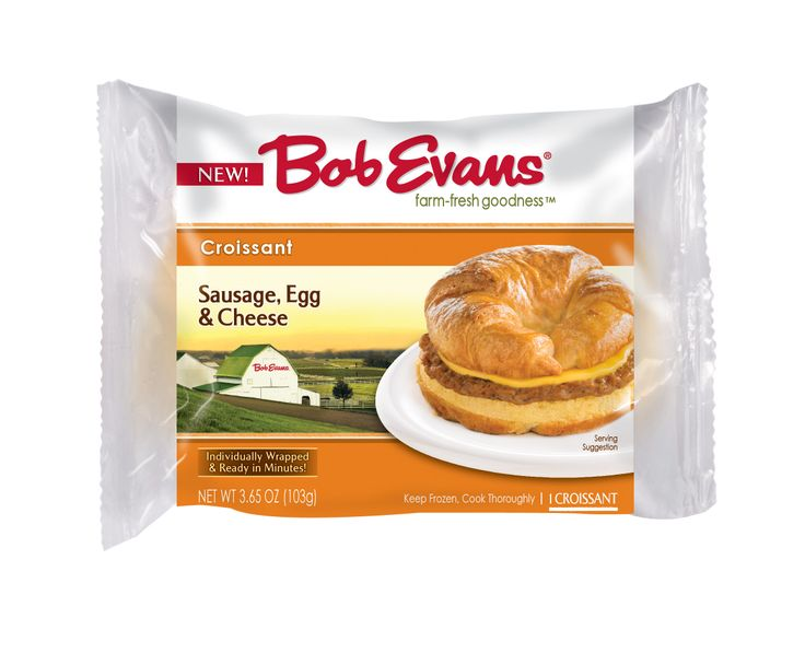 Bob Evans Single Serve Sausage, Egg & Cheese Croissant -  Your favorite Sausage, Egg & Cheese Croissant is available in single serve! Made with our premium pork sausage, real cheddar cheese and a flaky croissant, each sandwich is individually wrapped for a convenient breakfast on-the-go.
