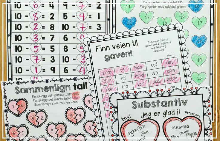 Morsomme lese- og skriveopplæring, matematikk og kort-oppgaver til Valentinesdagen. Flott for å jobbe tverrfaglig med et koselig emne. Gratis nedlasting i innlegget!