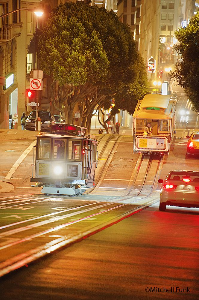 Cable Cars On Powell Street At Night, San Francisco www.mitchellfunk.com
