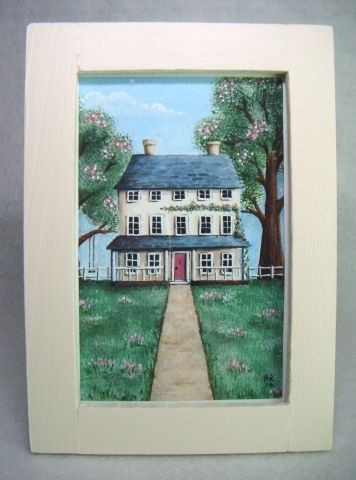 'Clematis House' Folk Art Style Framed Original Painting - £14.50 at http://hollysfriends.co.uk/qpp006