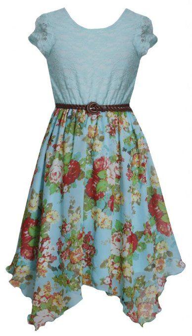 Amazon.com: Tween Girls 7-16 Aqua-Blue Belted Lace to Floral Chiffon Hanky Hem Dress: Clothing