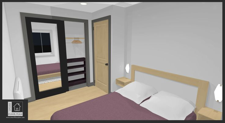 Bedroom Floor Plan 3D view at Kinsale Apartment. Ireland by https://www.smart-floorplan.com
