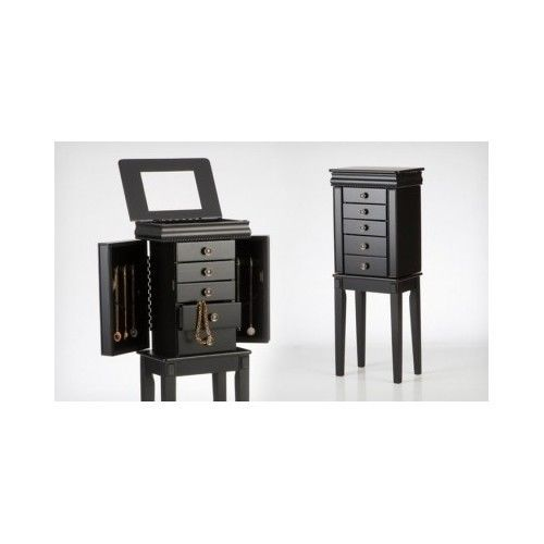 Mirrored-Jewelry-Armoire-Organizer-Storage-Box-Black-Cabinet-Stand-Chest-Wood