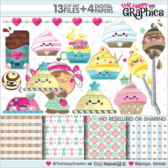 Sweet Clipart, Sweet Graphics, COMMERCIAL USE, Kawaii Clipart, Planner Accessories, Sweet Party, Bakery, Food, Cake, Dessert, Cupcake