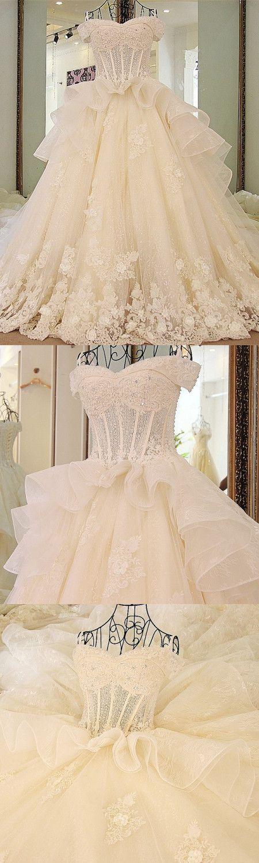 A-line Off-Shoulder Cathedral Train Tulle Rhine Stone Lace Wedding Dresses ASD2630 #weddingdresses #bridaldresses #lace #unique #romantic #princess #flowers