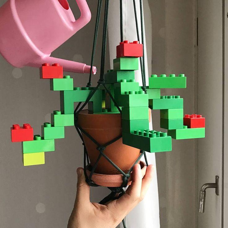 I got plastic fingers.   #plasticflowers #plant #pot #plastic #homegrown #watering #lego #duplo