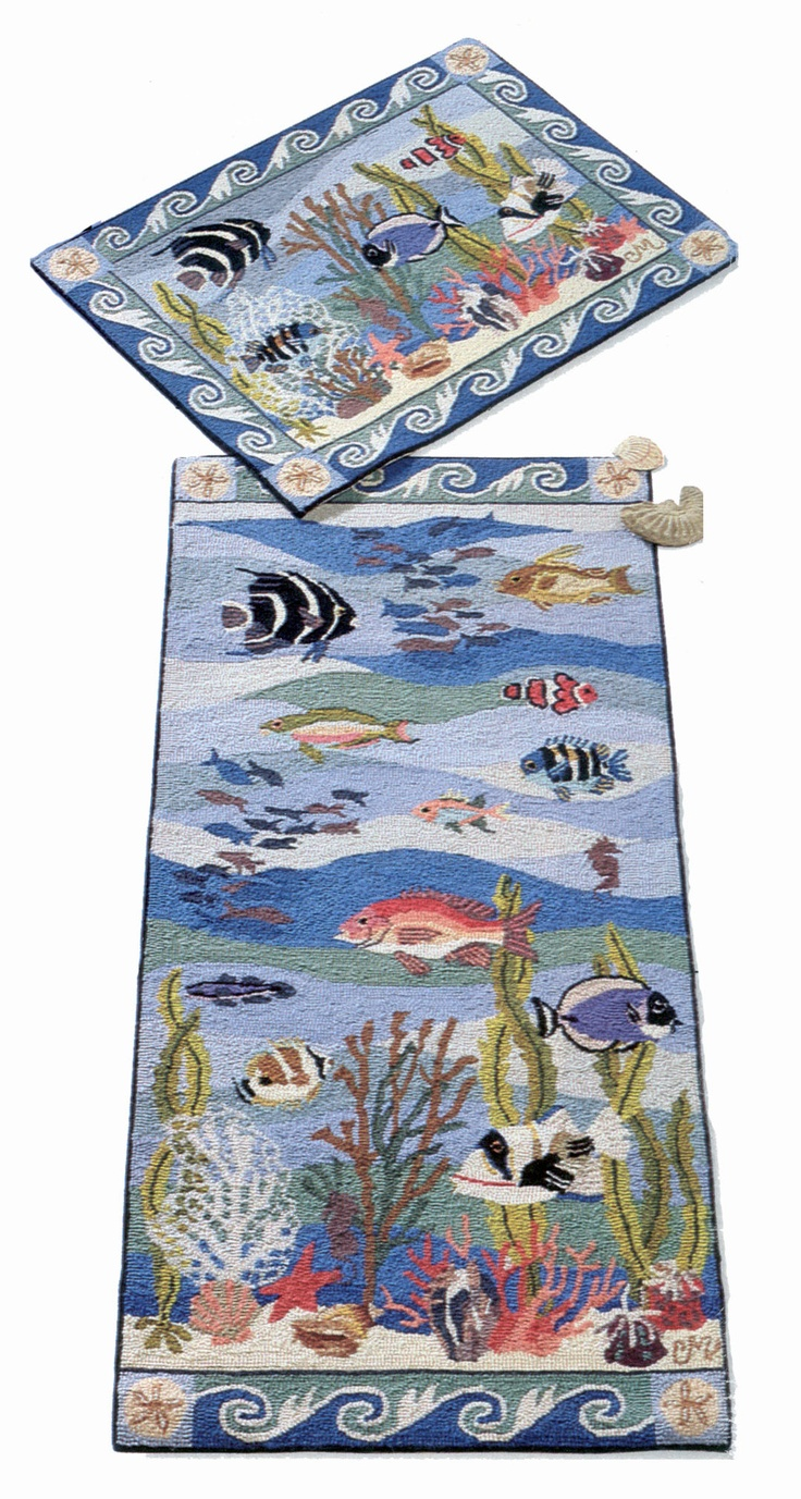 Coral Reef hooked rugs by Claire Murray, offered in the Smithsonian catalog.