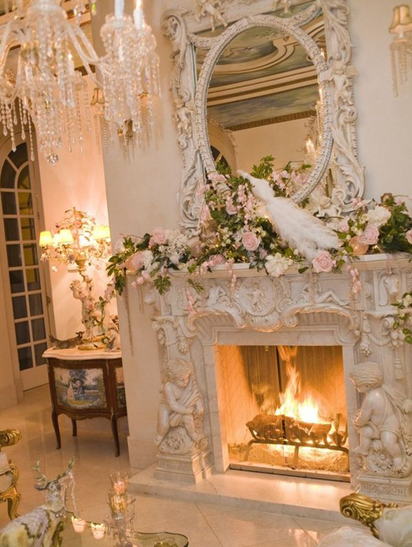 Ornate carved #fireplace with #floral accents and #angels