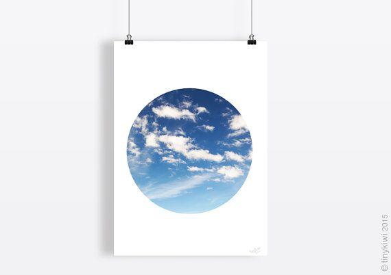Cloud print, Wall art, Sky art, Instant download, Home decor, Minimal art, Circle art, Modern design, Geometric design, Printable poster