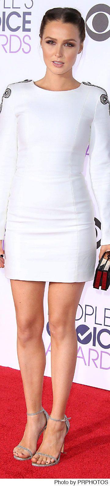 Camilla Luddington wearing Balmain white dress - 2016 People's Choice Awards