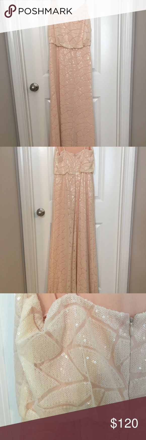"Donna Morgan Dress, Style: Olivia, Color: Apricot Donna Morgan Collection bridesmaid dress in the Olivia style and the color Apricot worn once for a wedding. It has already been hemmed (I'm 5'5"" and wore 3.5"" heels). No other alterations have been done. Item is in great condition! Donna Morgan Dresses Wedding"