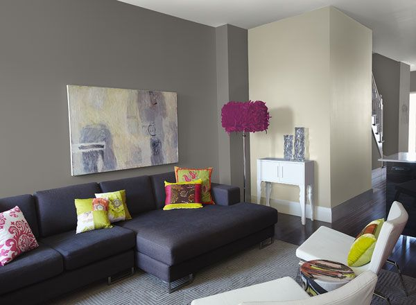 Modern Living Room With Neutral Grey Paint Colour Scheme Stone 2112 40 Walls