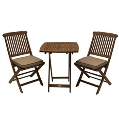 3 Piece Bistro Outdoor Patio Furniture Set With Chair Cushions  Free  Shipping
