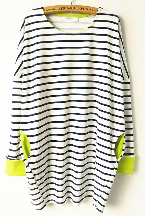 White Black Striped Contrast Light Yellow T-Shirt GBP£19.17
