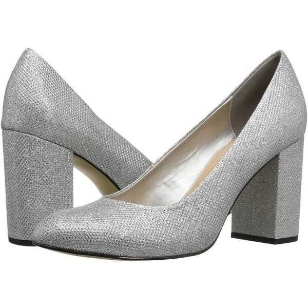 Bella-Vita Nara (Silver) High Heels ($80) found on Polyvore featuring women's fashion, shoes, pumps, silver round toe pumps, silver high heel shoes, high heeled footwear, slip on shoes and platform pumps