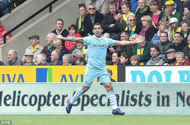 14th April 2012: Carlos Tevez opened the scoring for Manchester City with a stunning strike. A win was needed to reduce the gap down to 2 points before United's game against City. Tevez and Aguero started upfront and showed the Premier League what they are potentially capable of