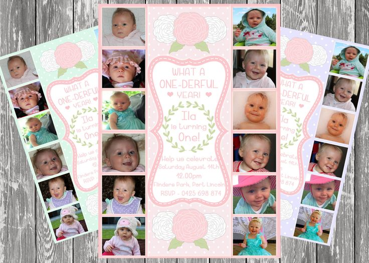 Baby Girl First Birthday Invitation ~ Baby Photo Collage ~ One Year Timeline ~ Personalised Digital Print ~ Print Yourself! by LittleFeetInvites on Etsy